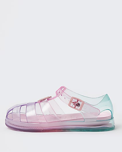 Girls pink pastel rainbow jelly shoes