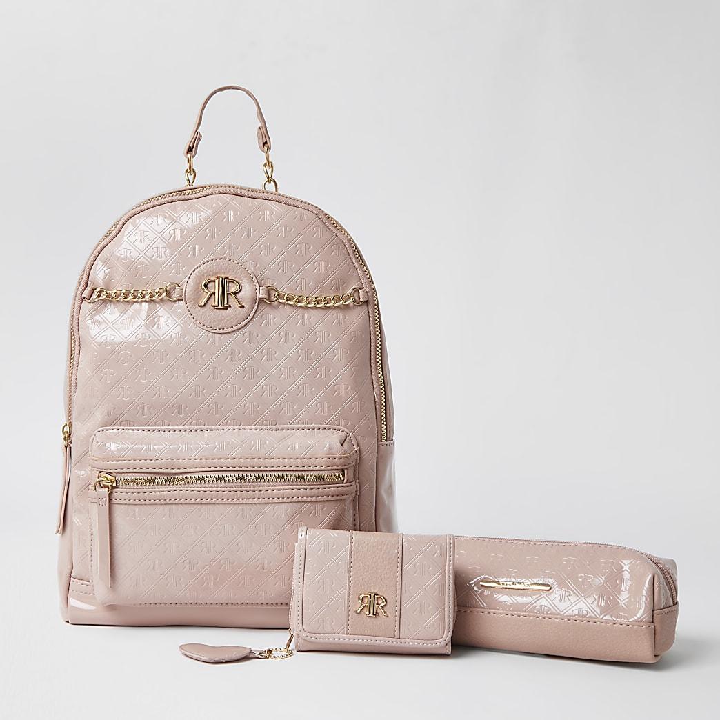 Girls pink patent embossed back pack bundle