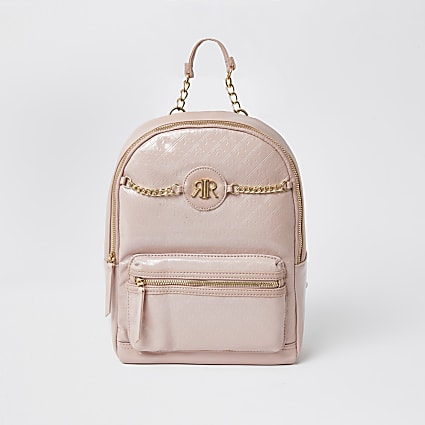 Girls pink patent embossed monogram backpack