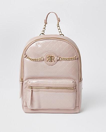 Girls pink patent embossed monogram backpack