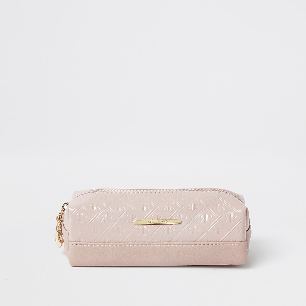 Girls pink patent embossed pencil case
