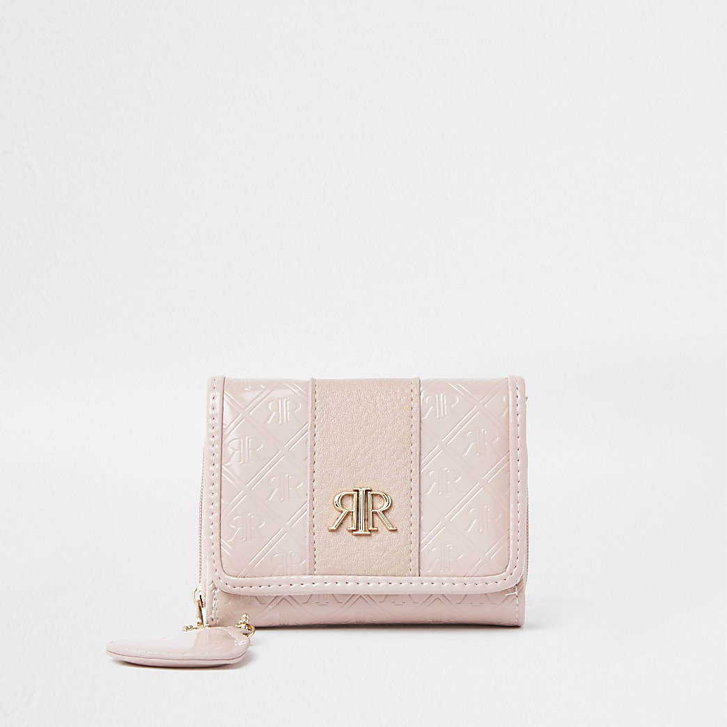 Girls pink patent monogram fold out purse