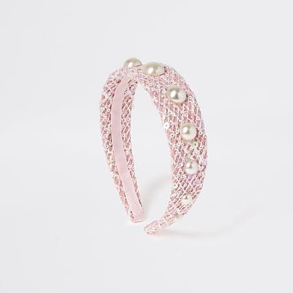 Girls pink pearl headband