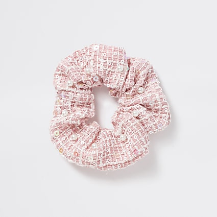 Girls pink pearl scrunchie