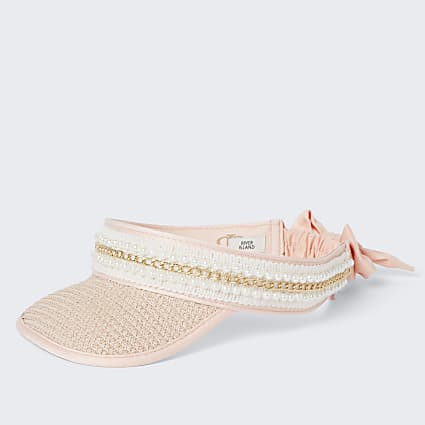 Girls pink pearl trim straw visor hat