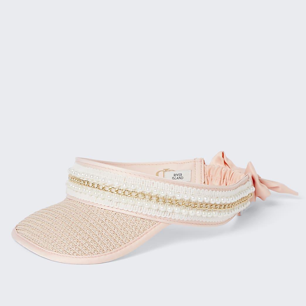 Girls pink pearl trim straw visor hat