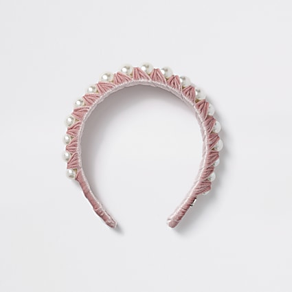 Girls pink pearl wrapped headband