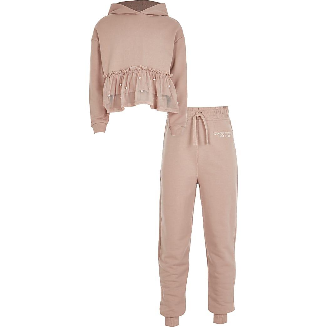 Girls pink peplum hem hoodie outfit