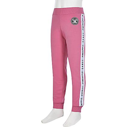 Girls pink pineapple jacquard joggers