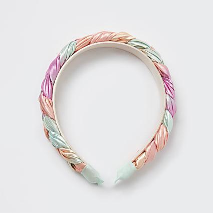 Girls pink plaited headband