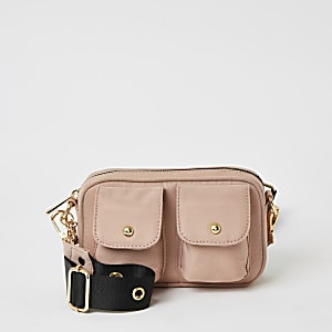 Girls pink pocket front cross body bag