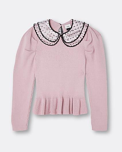 Girls pink polka dot collar peplum jumper
