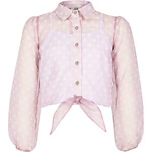 Chemise nouée en organzaà motif pois rose pour fille