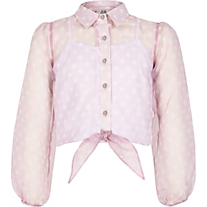 Roze overhemd met stippen en organza strik voor meisjes