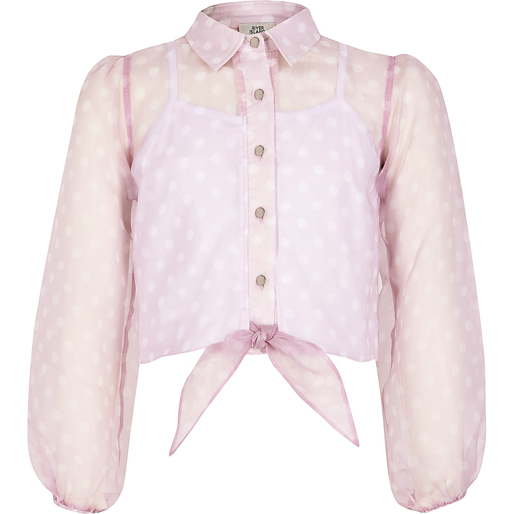 Girls pink polka dot organza tie shirt