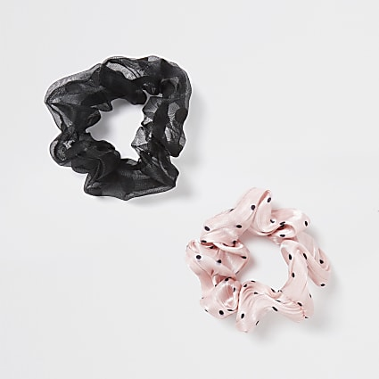 Girls pink polka dot scrunchie 2 pack