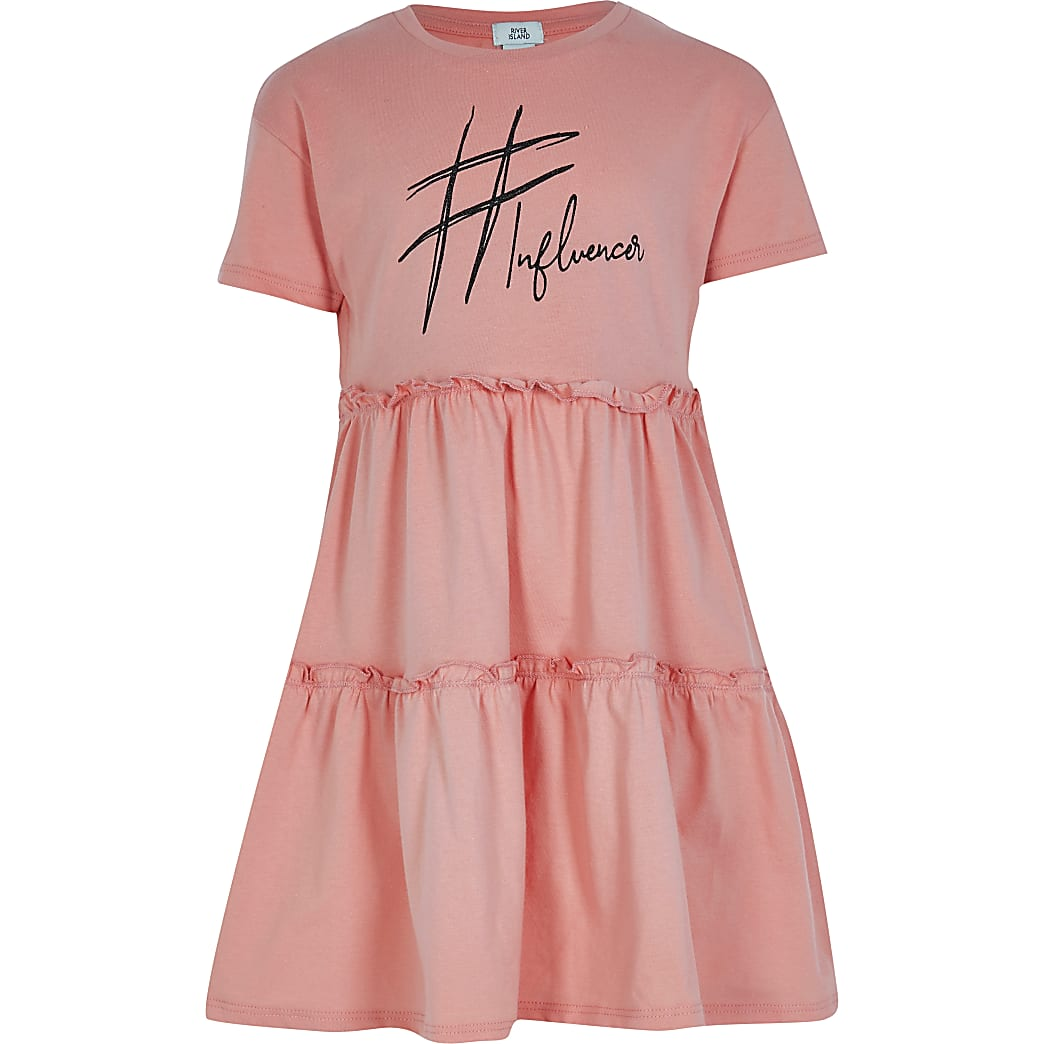 Girls pink print t-shirt smock dress