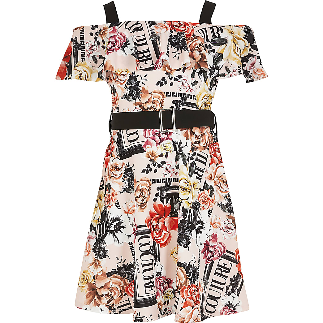Girls pink printed frill bardot belted dress