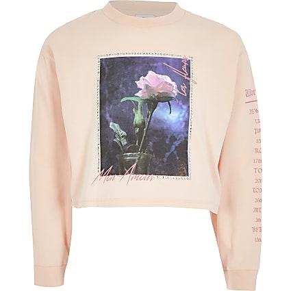 Girls pink printed long sleeve T-shirt