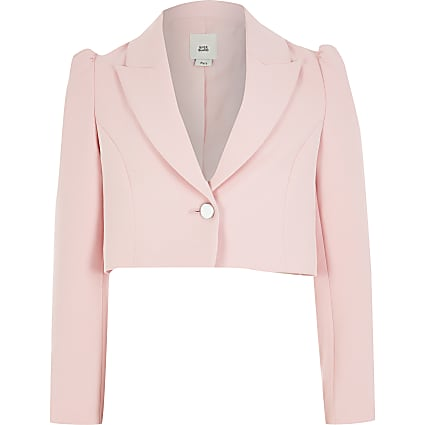 Girls pink puff sleeve cropped blazer
