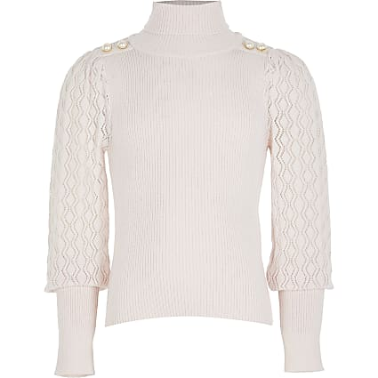 Girls pink puff sleeve roll neck jumper