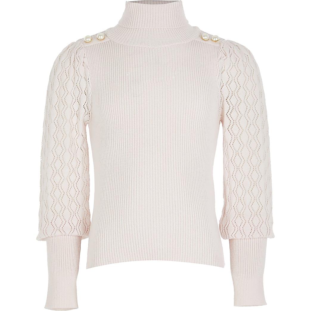 Girls pink puff sleeve roll neck jumper