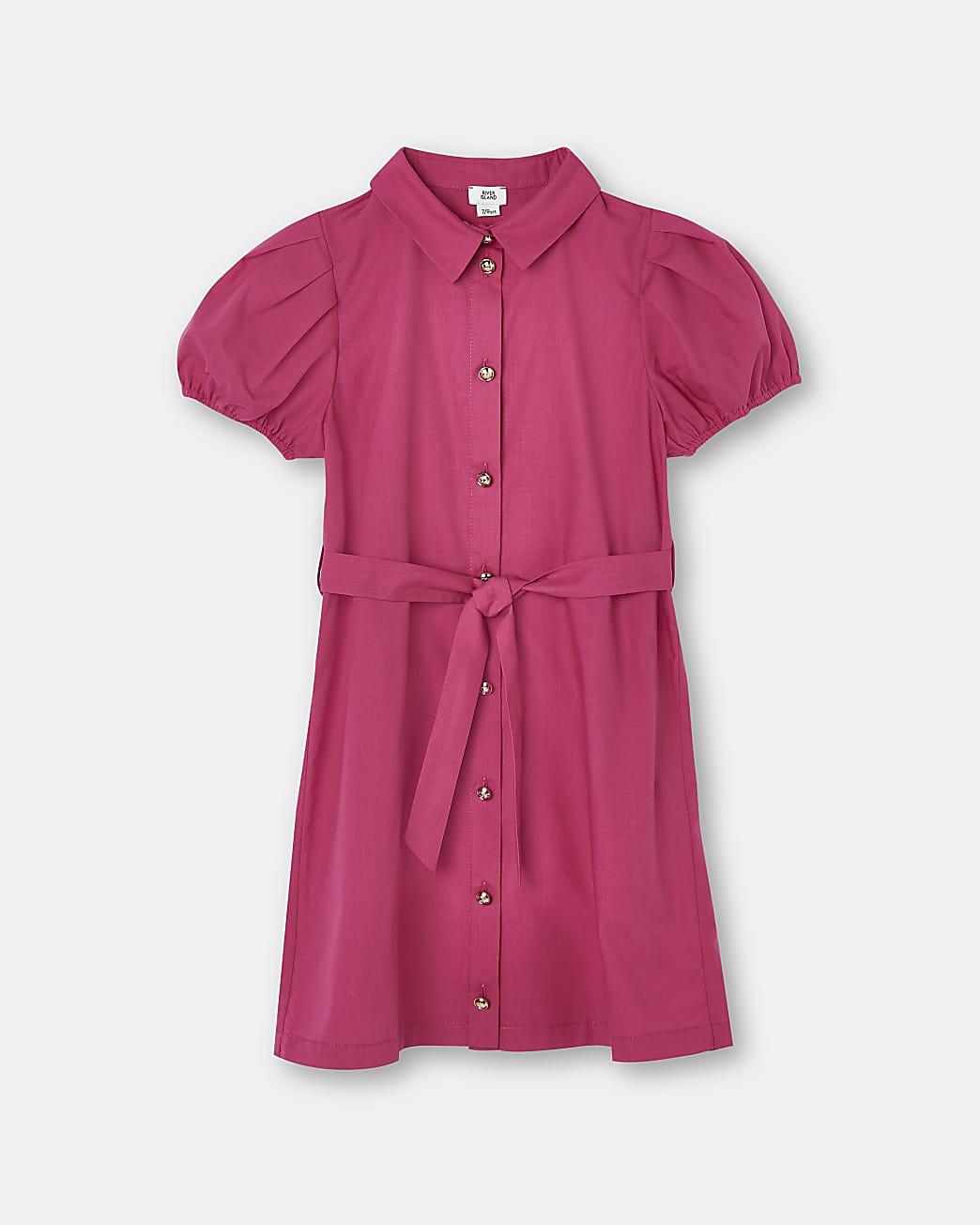 Girls pink puff sleeve shirt dress