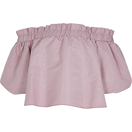 Girls pink puff sleeve taffetta bardot top