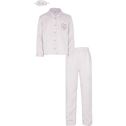 Girls pink pyjamas and satin eye mask set