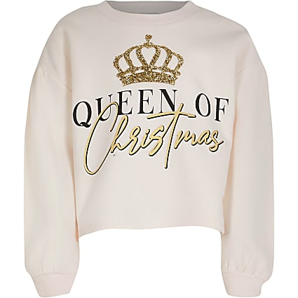 Girls pink 'Queen Of Christmas' sweatshirt
