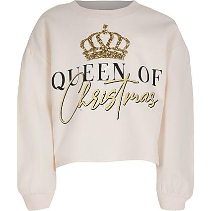 Girls pink 'Queen Of Christmas' sweatshirt