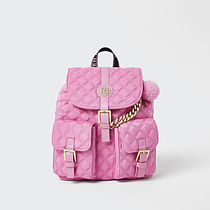 Girls pink quilted backpack