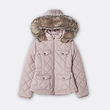 Girls pink quilted hooded matte puffer coat