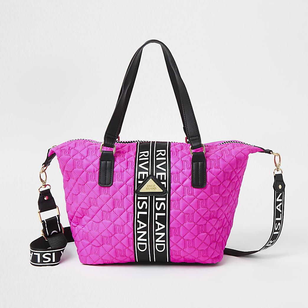 Girls pink quilted monogram shopper handbag