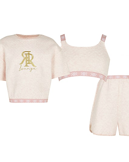 Girls pink quilted piece lounge Set