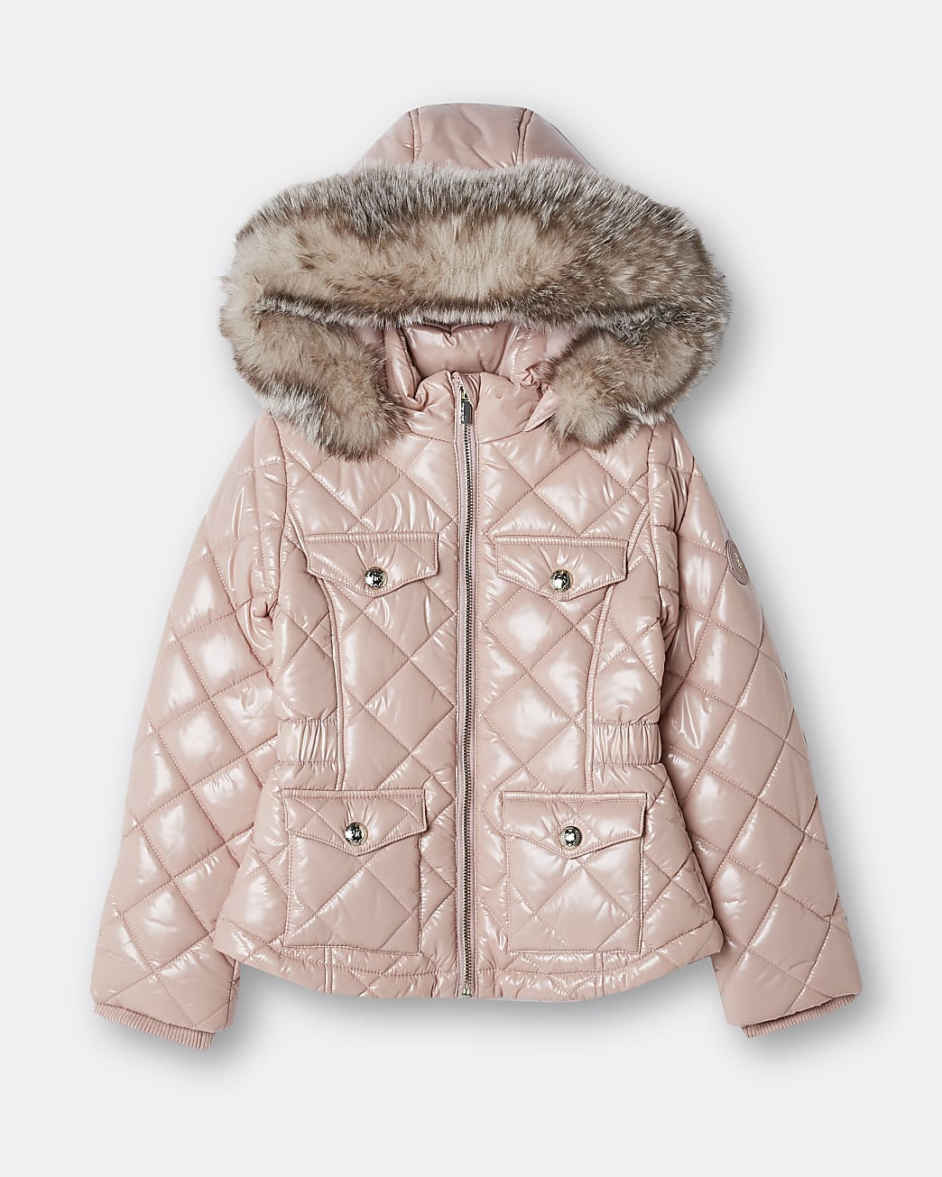 Girls pink quilted puffer hooded coat