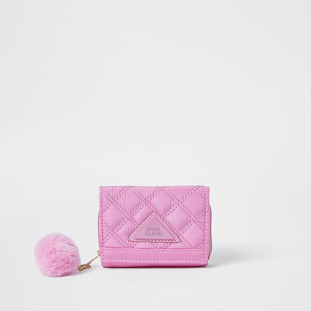 Girls pink quilted purse