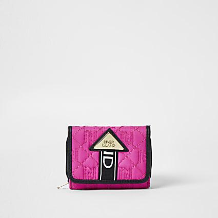 Girls pink quilted RI embossed monogram purse