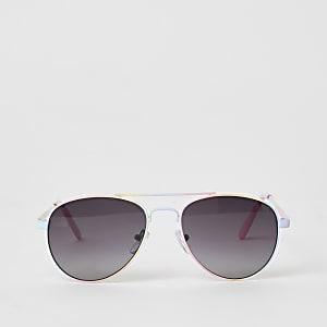 Roze pilotenzonnebril met regenboogprint voor meisjes