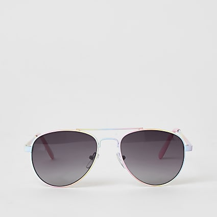 Girls pink rainbow aviator sunglasses