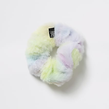 Girls pink rainbow faux fur scrunchie