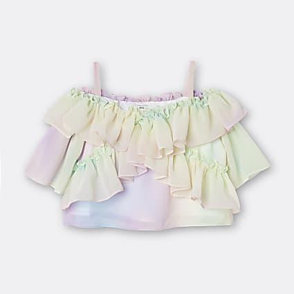 Girls pink rainbow frill blouse top