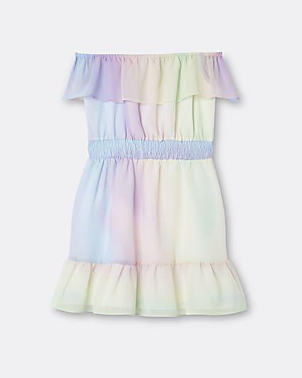 Girls pink rainbow frill hem dress