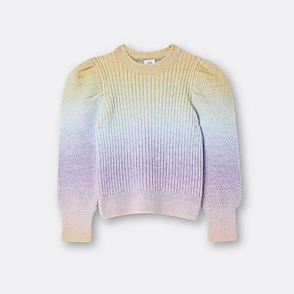 Girls pink rainbow puff sleeve jumper