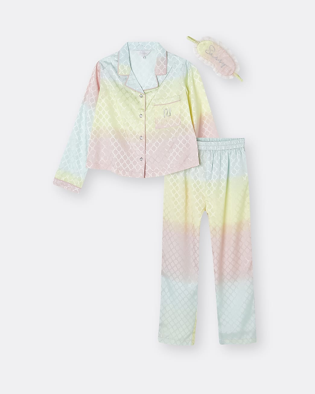 Girls pink rainbow satin 3 piece pyjama set