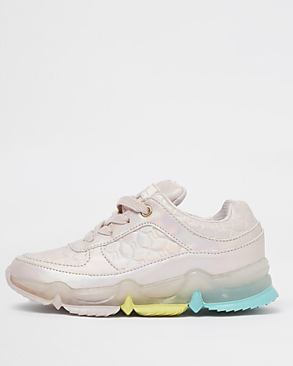 Girls pink rainbow sole trainers