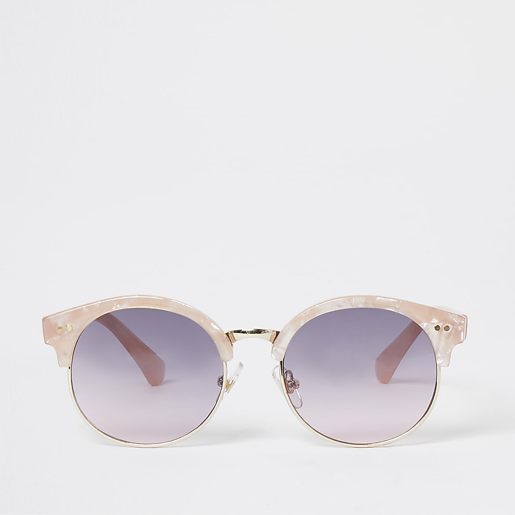 Girls pink retro round sunglasses