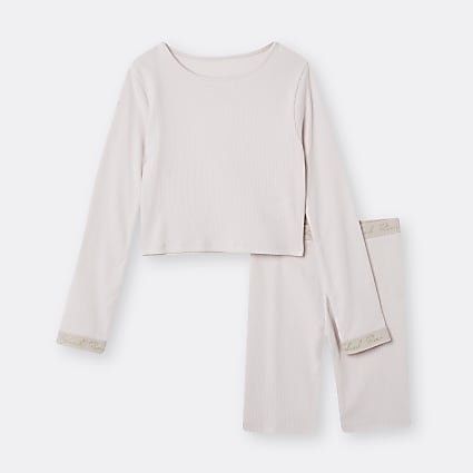 Girls pink RI  top and shorts outfit