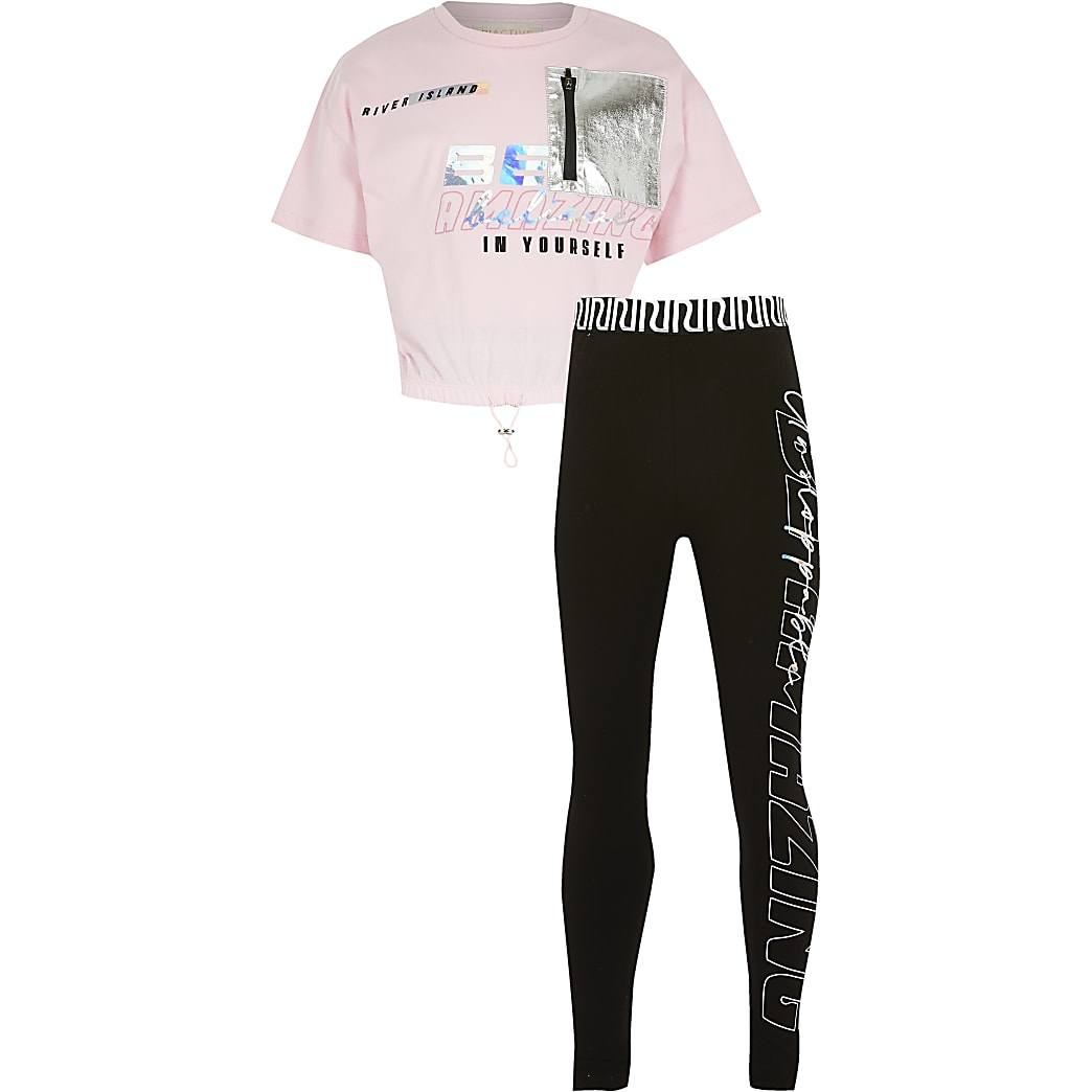 Girls pink RI Active 'Believe' t-shirt outfit
