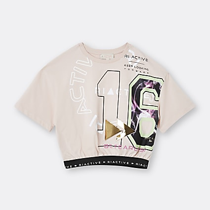 Girls pink RI Active cinched waist t-shirt